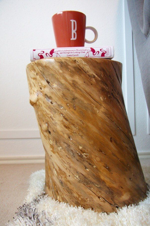 Unique DIY Tree Stump Side Table