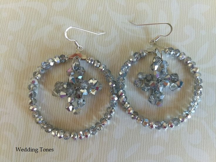 Handmade Silver Crystal Earrings With Cross – Wedding Tones
