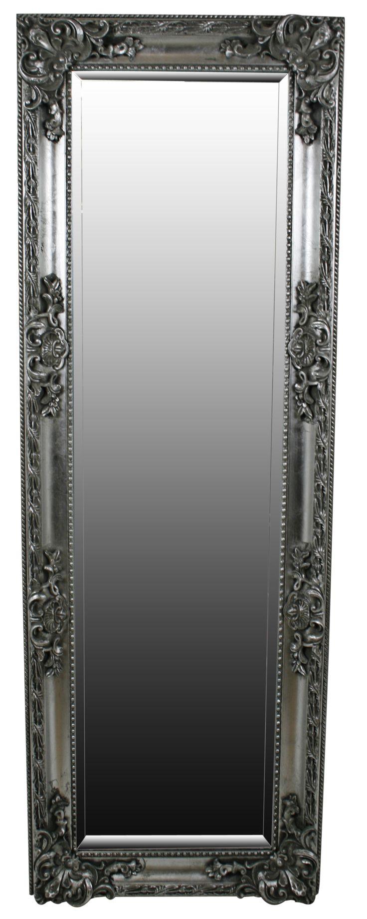 Silver floor standing mirror