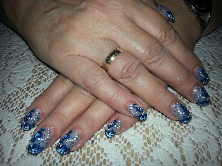 Glitter gel met blauwe bloem