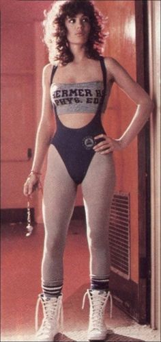 Jennifer Beals in 1980s aerobics workout clothes for Flashdance.