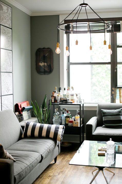 Gray living room bar
