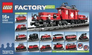 LEGO Factory Hobby Train (10183) by LEGO. $389.95. Discontinued set.. lego HOBBY TRAIN 10183. Very hard to find. Building YOUR  way. Designed by Lego funs.. Contains 1083 pcs. Age 16 and up.. Contains 1083 pcs.  For age 16 & up. Designed by Lego funs.