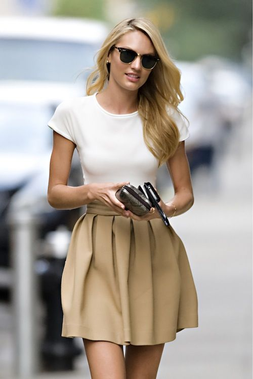 raybans + white t + camel or neutral full skirt