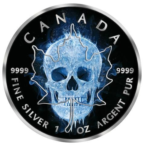 2017 RCM 1 Ounce Ice Skull Maple Leaf Colored Ruthenium Silver Coin - Art in Coins