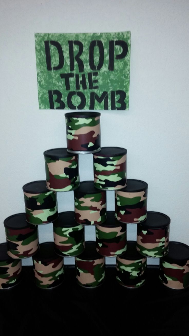 Army birthday party game. Using formula cans.