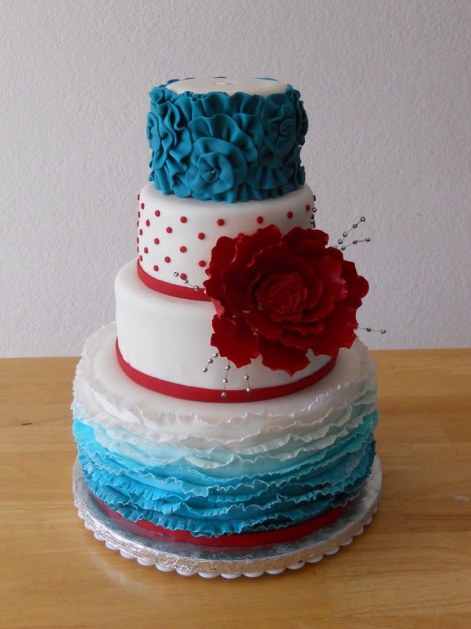 teal coloured wedding cakes and teal floral ruffle cake i like the dots 20779