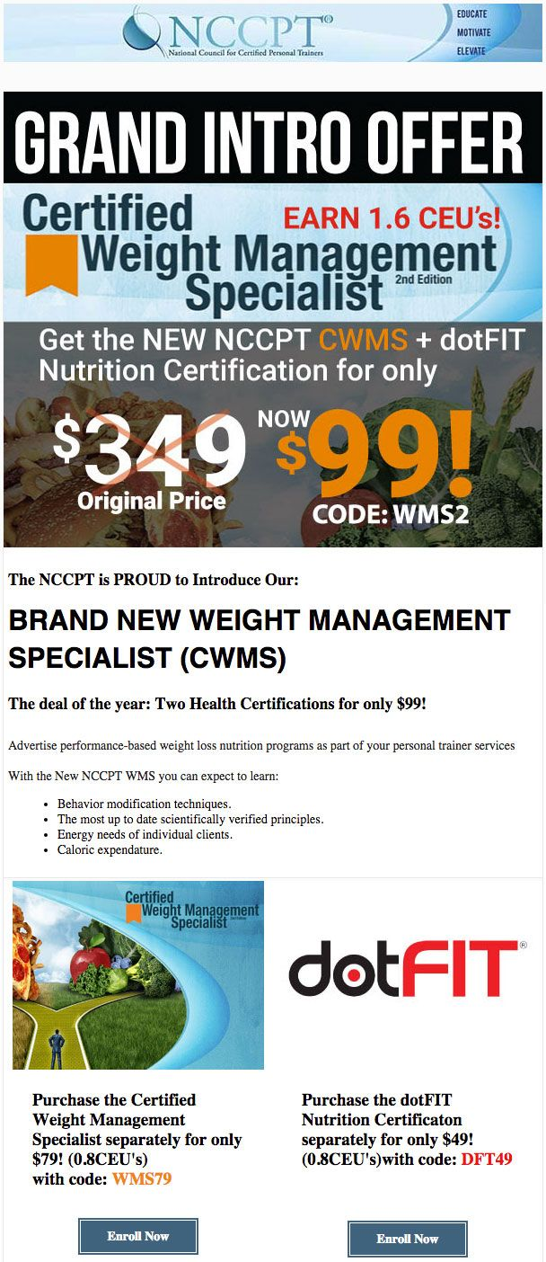 210 best nccpt products and more images on pinterest products weight management specialist ii updated edition ceus dotfit certification ceus becoming certified as a weight management sp xflitez Image collections