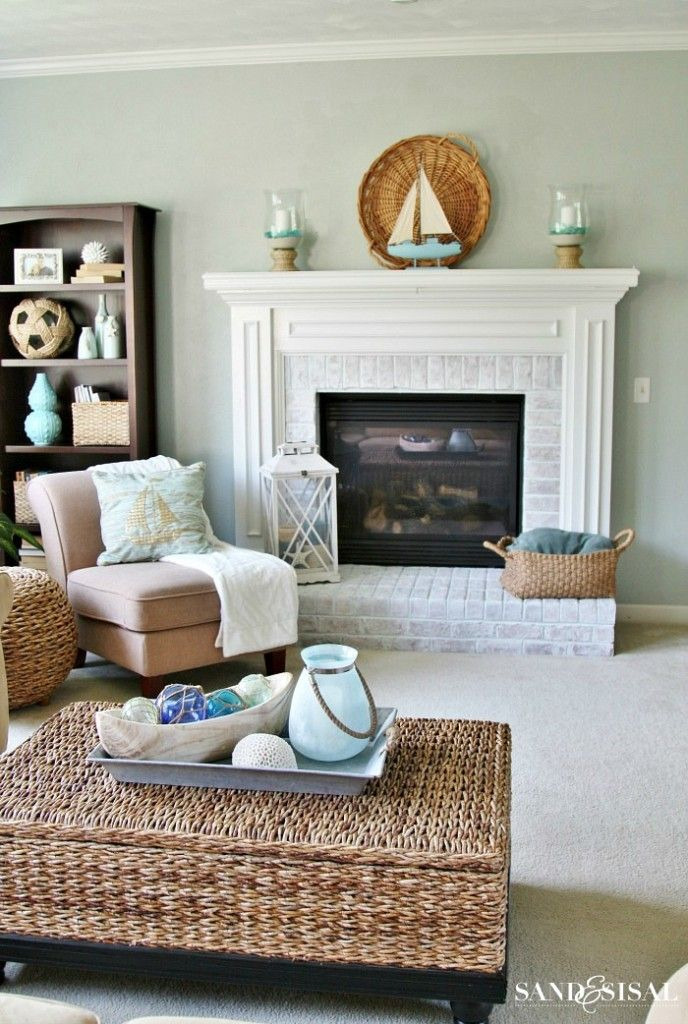 a seaside retreat in your home...so simple and so cozy. Coastal living room.