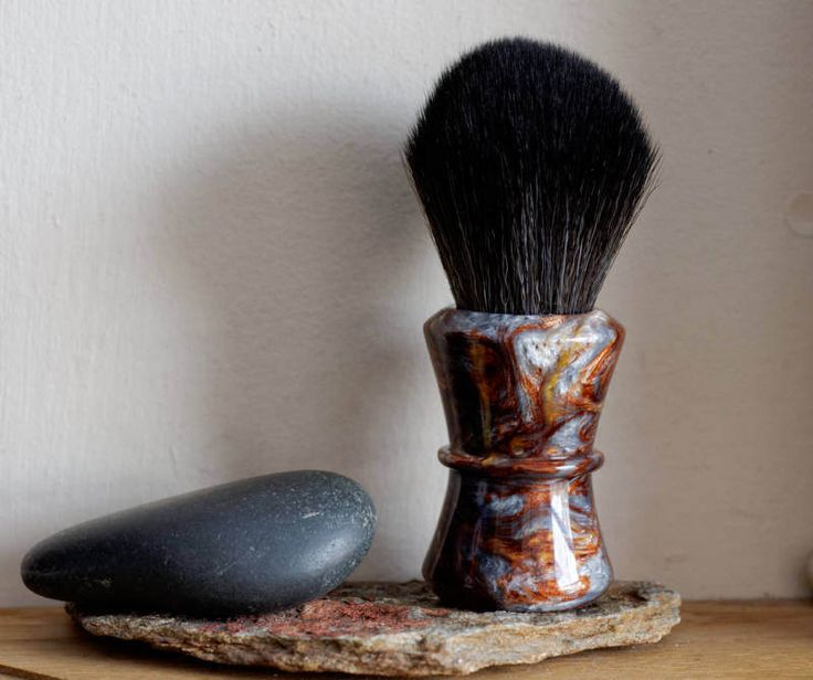 Shaving Brush - Molten Metal Resin Lathe-Turned Handle with Synthetic BOSS Knot by LoveYourShave on Etsy
