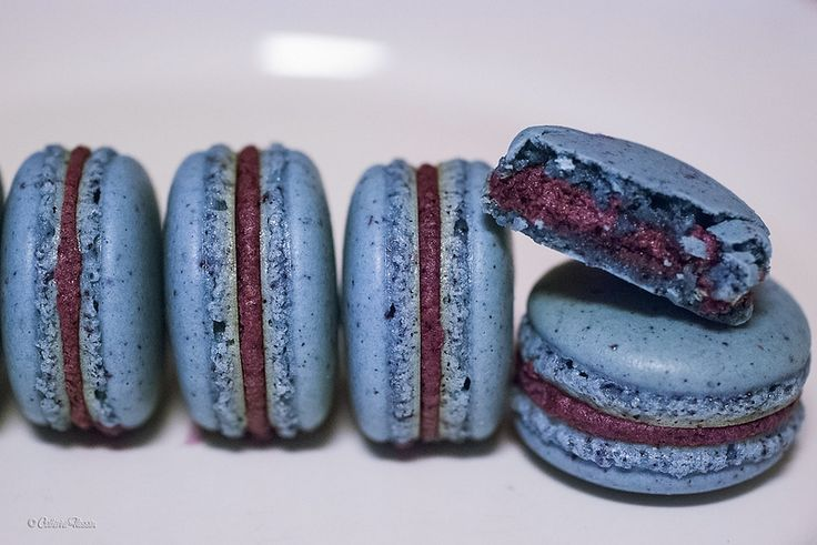 Trial #5 of my foray into Italian meringue-based macarons: blueberry macarons filled with blueberry cream cheese buttercream.