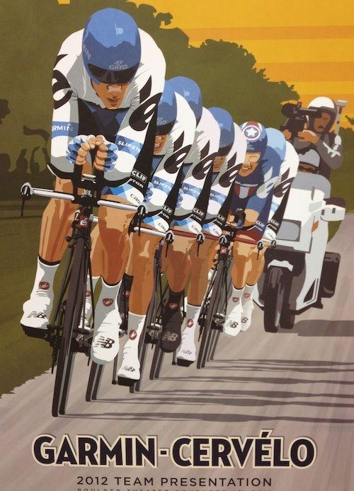 Garmin Cervelo poster - Steve Thomas Art & Illustration. One of a bunch Steve has done for Garmin - more here http://www.stevethomasart.com/marketing.html