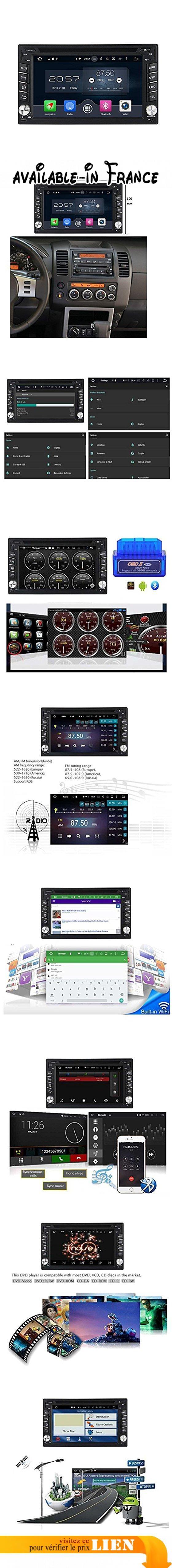 2 Din 6.2 pouces Android 6.0 OS stéréo de voiture pour Nissan Pathfinder 2005 2006 2007 2008 2009 2010,DAB+ radio 800x480 écran tactile capacitif Cortex A53 8 Core 1.5G CPU 2G DDR3 RAM 32G Flash GPS Navi Radio Lecteur DVD 3G/WIFI Aux Input OBD2 USB/SD DVR. Android 6.0.1 marshmallow os doublé din autoradio pour Nissan Pathfinder(2005-2010),Rockchip PX5 Cortex A53 8 Core 1.5Ghz CPU, DDR3 2G RAM, 32G NAND flash,capacitif tactile multi-point. Logo de départ bricolage.Compatible