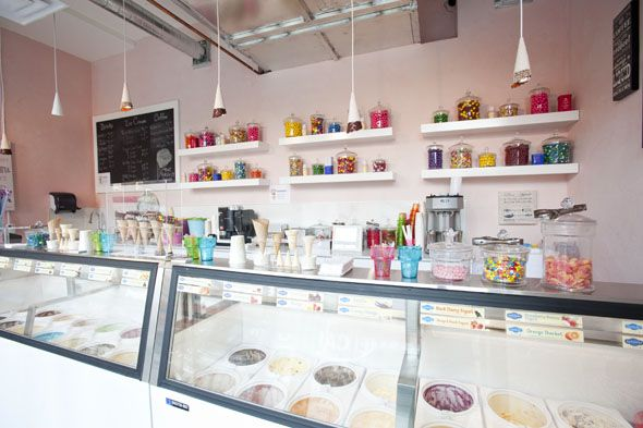 The Perfect Scoop Ice Cream Shop. Great name. I love the shelves in the back. So colorful. Organized but not to empty.