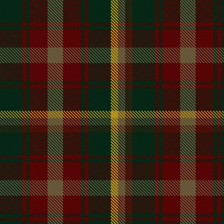 ~+~+~ Maple Leaf Tartan ~+~+~  David Weiser created this beautiful tartan in 1964.  While each province and territory has an individual tartan, the Maple Leaf Tartan is the only one representative of Canada. It is also used by the pipes and drums of the Royal Canadian Regiment.  The four colours reflect the colours of the maple leaf as it changes through the seasons; green in spring, burnished gold in the early fall, deep red as temperatures drop, and brown after falling.