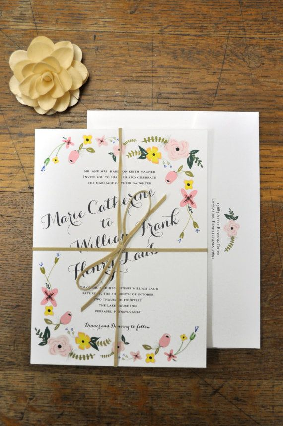 Flower Garden Wedding Invitation by HawthorneHouseInc on Etsy, $3.00