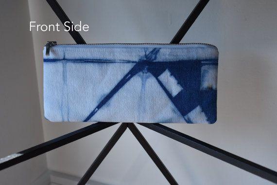Pencil Case S3  Shibori Dyed Using Indigo by DyedDsgn on Etsy