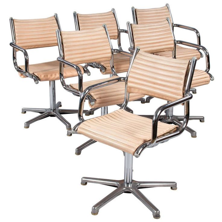 Set Of Six Vintage Chrome Armchairs By Olymp Germany