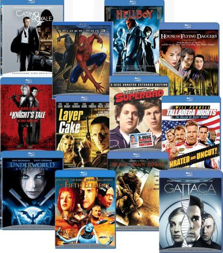 Blu-ray 12-pack (Black Hawk Down / Casino Royale / The Fifth Element / Gattaca / Hellboy / House of Flying Daggers / A Knight's Tale / Layer Cake / Talladega Nights / Underworld Evolution)