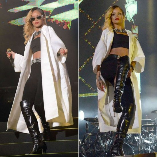 Rihanna performs in Morocco wearing Miu Miu coat, Balmain top, Azzedine Alaia leggings, Gianvito Rossi boots, vintage Versace sunglasses and Lanvin SS2013 accessories.