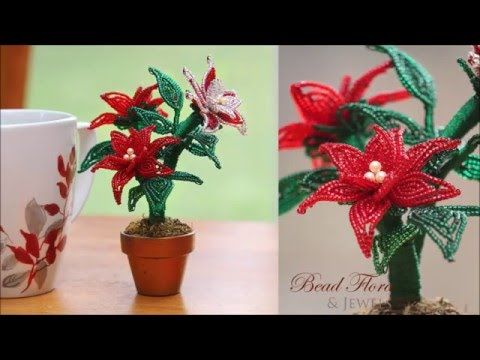 How to Make a Bead and Wire Poinsettia Plant ~ The Beading Gem's Journal