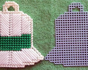 Plastic Canvas Christmas Ornament or Coaster Bell Shape wiith Cut Out to make your own