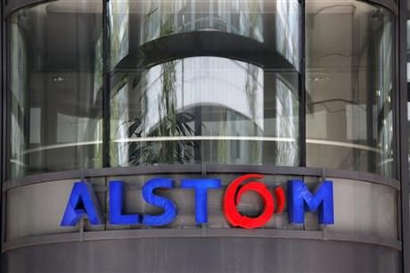 FILE - This Wednesday, April 30, 2014 file photo shows the company logo of Alstom at the headquarters of the leading global maker of high-speed trains, power plants and grids, in Levallois-Perret, outside Paris, France. (AP Photo/Christophe Ena, File) ▼16Jun2014AP|Siemens, Mitsubishi look to derail GE-Alstom deal http://bigstory.ap.org/article/siemens-mitsubishi-announce-alstom-offer #Alstom #Levallois_Perret