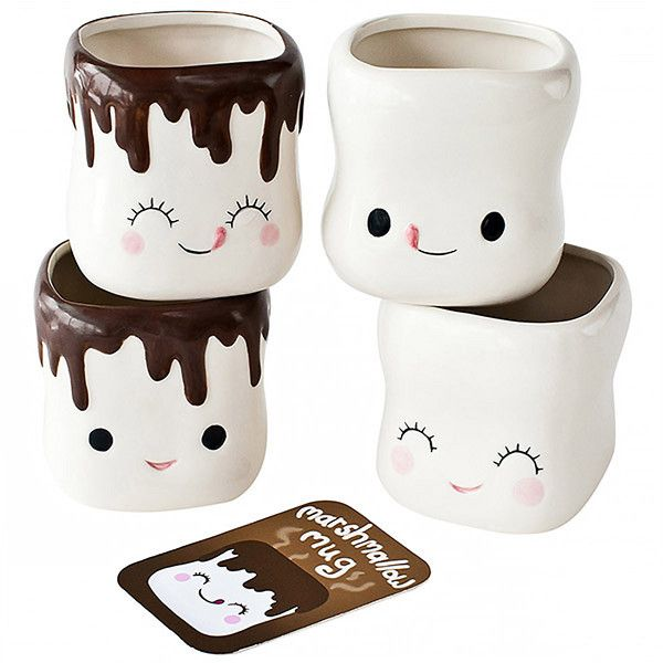 Marshmallow Smiling Faces Hot Cocoa Mugs ($30) ❤ liked on Polyvore featuring home, kitchen & dining, drinkware, ceramic mug set, chocolate mug, ceramic coffee mug sets, ceramic mugs and coffee mug gift set