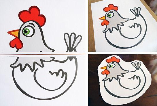Para montar a galinha no formato A3 (29,7 cm x 42 cm), eu precisei usar a ferramenta TILES da impressora, que reconhece o tamanho do arquivo original e o divide em partes, que deverão ser montadas em seguida. Juntei as duas folhas no formato A4 (21 cm x 29,7 cm) com fita dupla-face e depois colei o conjunto em um pedaço de cartolina bem encorpada. Primeiro recortei grosseiramente a galinha para, mais tarde, me guiar cuidadosamente pelo seu contorno. Não foi necessário nenhum suporte para que…