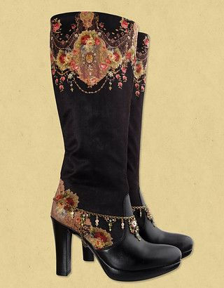 Flamenco-looking boots.  I can just see a dancer swirling her skirt to show off these!