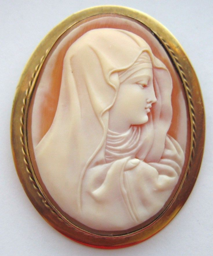 Antique Victorian 14K Yellow Gold Shell Cameo Brooch Madonna from waterside-dream on Ruby Lane