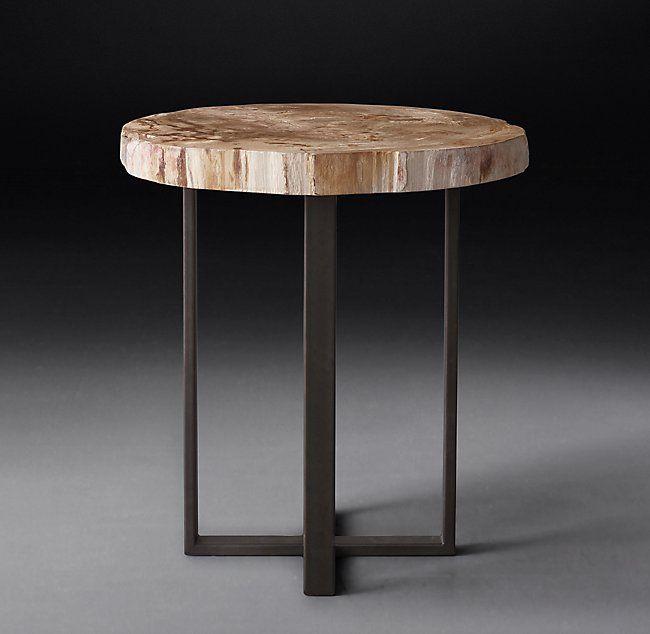 1970s Petrified Wood Slab Round Side Table Beistelltisch Holz Holzplatte Beistelltische