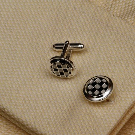 Checkered Silver Cufflinks @ CherryTin.com  Check pattern sterling silver cufflinks make a dapper gift for men.