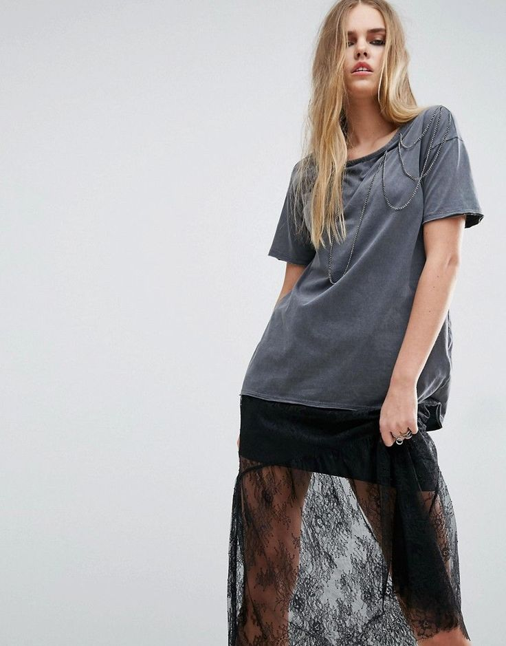 ASOS T-Shirt with Chain Detail in Wash - Gray
