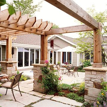 stone piers at base of wood postsLandscapes Ideas, Small Backyards, Outdoor Living Spaces, Backyards Pergolas, Stones And Wood Pergolas, Stones Columns, Outdoor Room, Outdoor Spaces, Pergolas Ideas