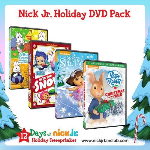You could win a Nick Jr. holiday DVD pack by entering the 12 Days of Nick Jr. Holiday Sweepstakes, starting Monday 11/25!