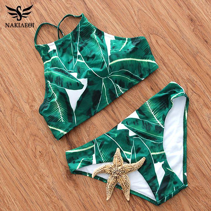 NAKIAEOI 2017 Sexy High Neck Bikini Swimwear Women Swimsuit Brazilian Bikini Set Green Print Halter Top Beach wear Bathing Suits