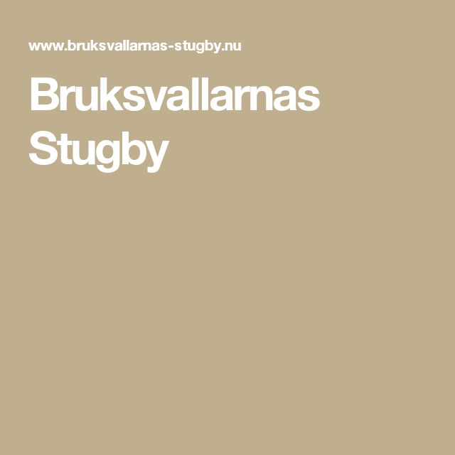 Bruksvallarnas Stugby