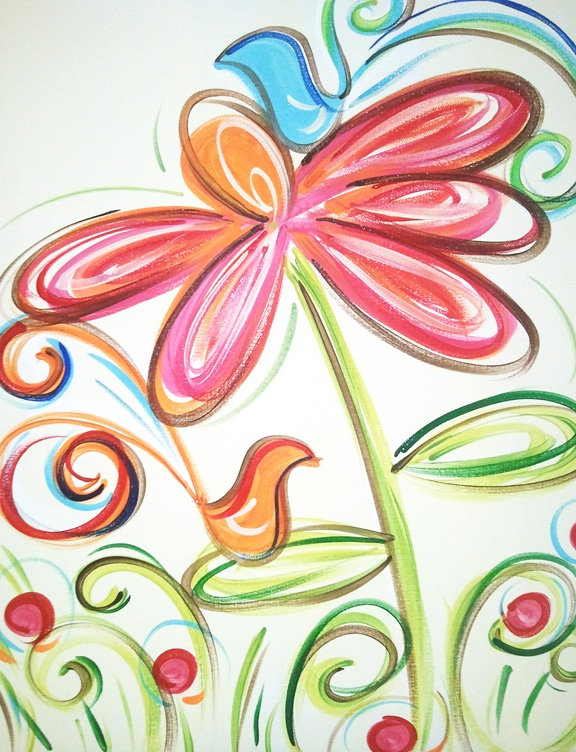 Whimsical flowers abstract vines collection 13 wallpapers for Cute abstract art