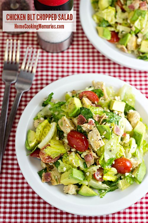 Chicken BLT Chopped Salad - a quick and delicious dinner salad with chicken, bacon, tomatoes, blue cheese and more with a homemade Honey Dijon Dressing #15MinuteSuppers