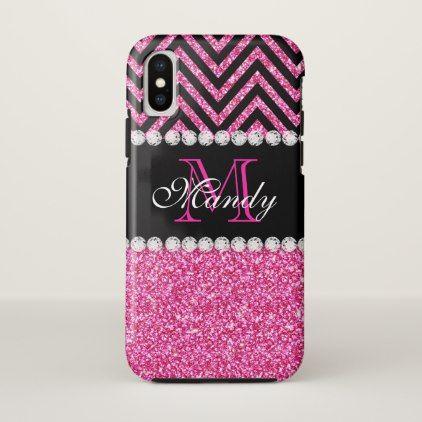 Personalized Pink Glitter Black Chevron Monogram iPhone X Case - monogram gifts unique design style monogrammed diy cyo customize