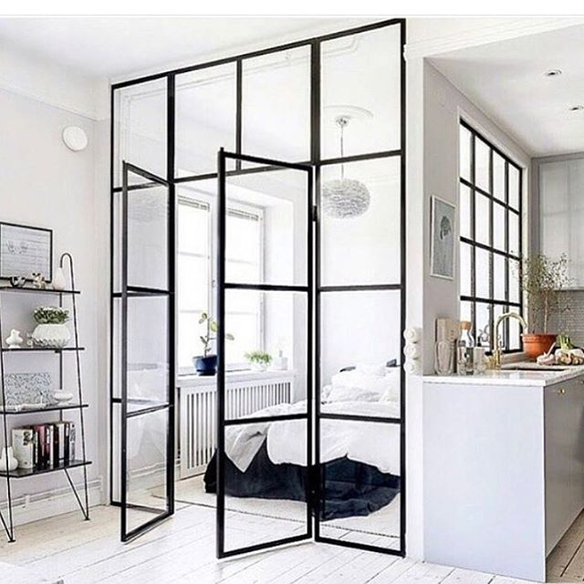 Starting the week with this cool apartment. Do you like glass walls? I do☺️ #pinterest #sourceunknown
