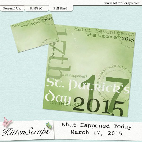 Paper created for today, St. Patrick's Day  March 17th, 2015, by KittenScraps. Digital Scrapbooking Freebie