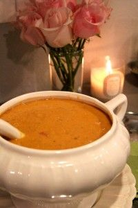 {crockpot} tomato basil parmesan soup made with Greek Yogurt {not cream!!}...and lots of veggies snuck in.