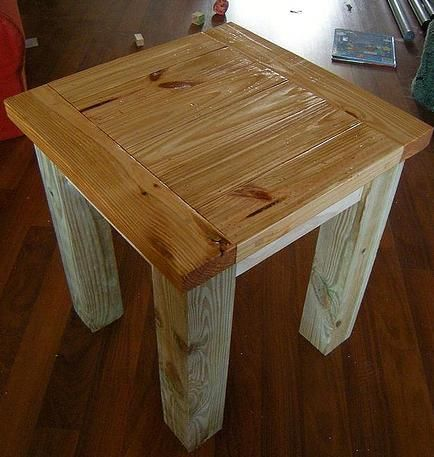 Table. This plan matches the plans for the Tryde Coffee Table and the Tryde Console Table. Made of solid wood in a rustic planked design, you will be shocked at just how beautiful 2x4s can be. This sturdy easy to build end table will add character and a natural aspect to your living space. Also can be used as a nightstand. Features sturdy solid wood legs and a large top w...