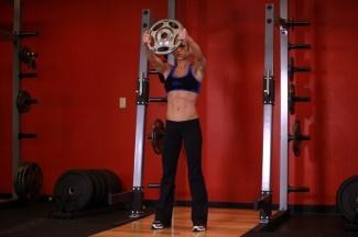 Front Plate Raises -- front deltoid, arms, core, upper back