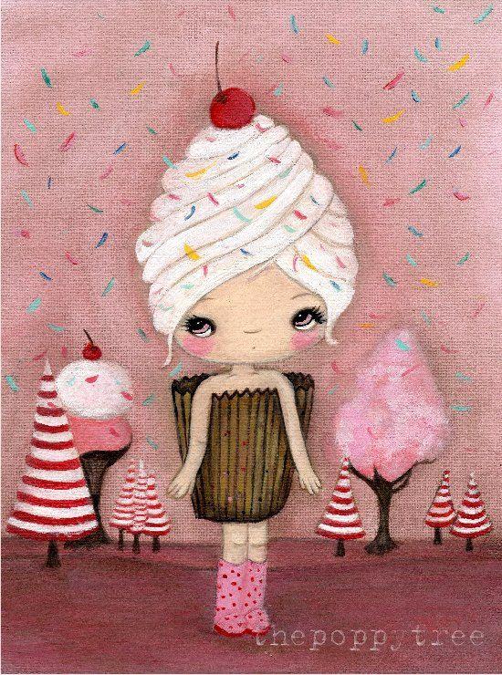 Cupcake stampare caramella ghiaccio crema torta rosa ragazza Wall Art----un dolce giorno