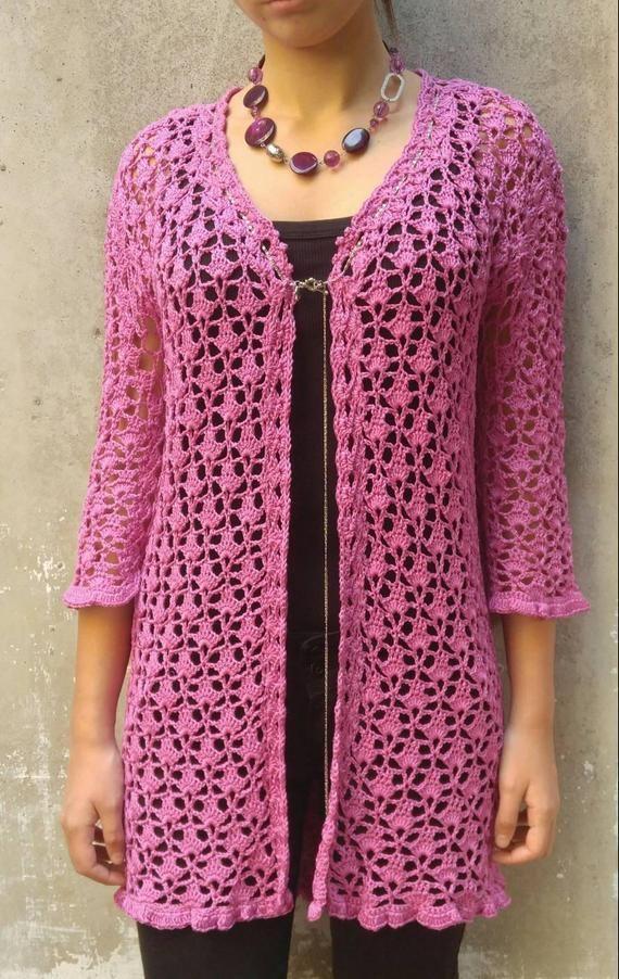 Crochet Long Lace Cardigan Lady S Pink Cardigan Shortened Etsy In 2020 Mercerized Cotton Yarn Crochet Jacket Crochet Clothes