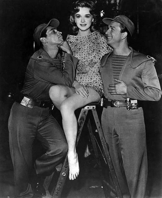 """Jack Kelly, Anne Francis and Leslie Nielsen on the set of """"Forbidden Planet"""""""