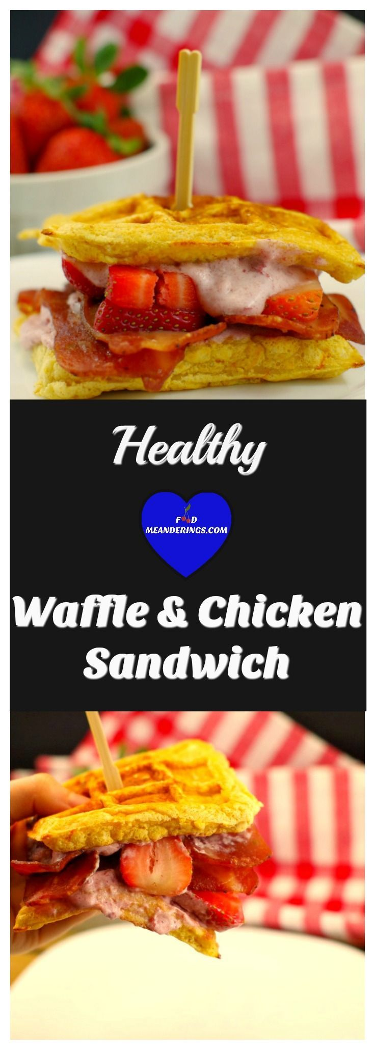 A healthy waffle and chicken sandwich made with low fat chicken breakfast strips. Easy and home made waffles can be replaced with store-bought if you're in a hurry!